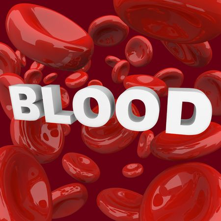 The word Blood surrounded by flowing cells