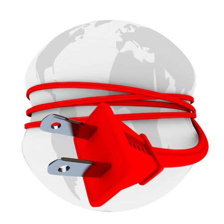 A red electric plug is wrapped around the world and strangling it, symbolizing the population's growing reliance on electricity Stock Photo - 6696188