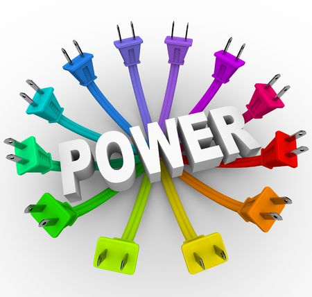 The word power surrounded by a ring of colorful electrical plugs