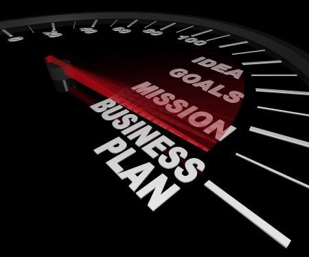 A speedometer with needle pointing to the words Business Plan Stock Photo