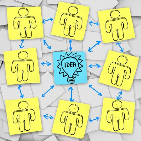 A group brainstorms together to think of the Big Idea, depicted on sticky notes Archivio Fotografico