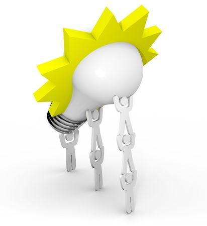 A team lifts a light bulb symbolizing innovation and brainstorming