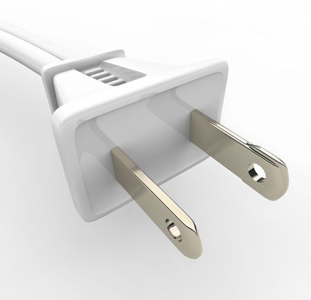 electric current: A white power cord and electric plug