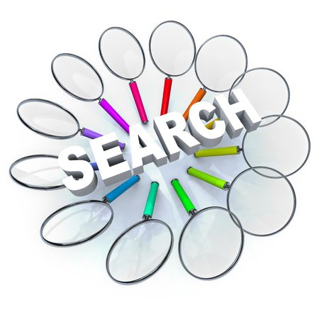 Many magnifying glasses arranged in a circle around the word Search Stock Photo - 6743133