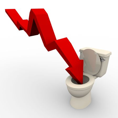 A red arrow plunges down into the toilet photo