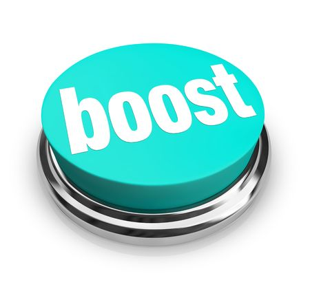 A blue button with the word Boost on it