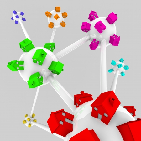 Several spheres containing houses of different colors, all connected in a network