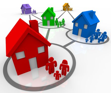 Several homes and families in connected neighborhoods Stock Photo - 6756515
