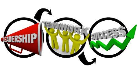 리더십 플러스 팀워크는 성공, 메시 코폰으로 상징되며, 함께 일하는 사람들과 녹색 화살표가 상향으로 움직입니다. 스톡 콘텐츠