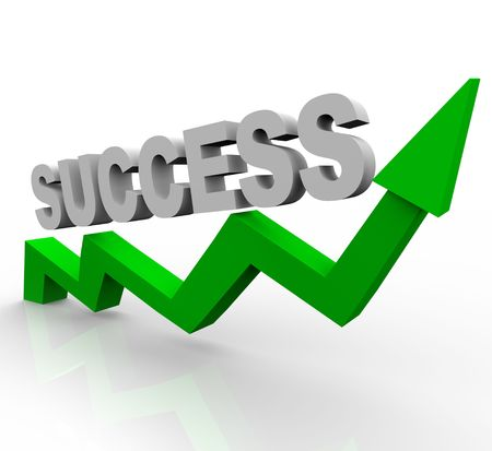 The word success on a rising green arrow photo