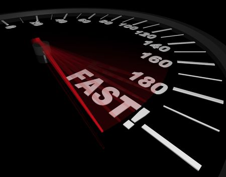 The word Fast on a speedometer, with red needle pointing to it Stok Fotoğraf