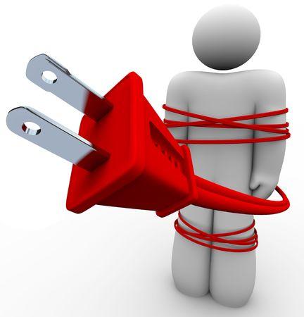 Una persona es atada en un cable el�ctrico, que simboliza la adicci�n a la humanidad a la electricidad  Foto de archivo - 6821537