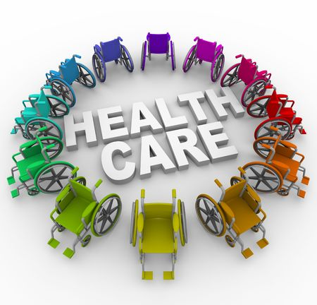 nursing treatment: Many colorful wheelchairs in ring around the words Health Care