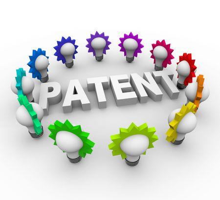 많은 다채로운 전구에 둘러싸인 단어 특허