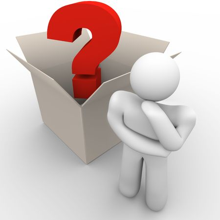 out of the box: A man ponders a question with outside the box thinking