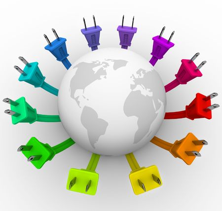 plugging: The world surrounded by a ring of colorful electrical plugs