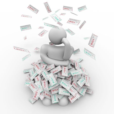 obligations: A person sits in a pile of bills, thinking of a way out