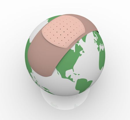 wound care: The planet Earth with a bandage on it