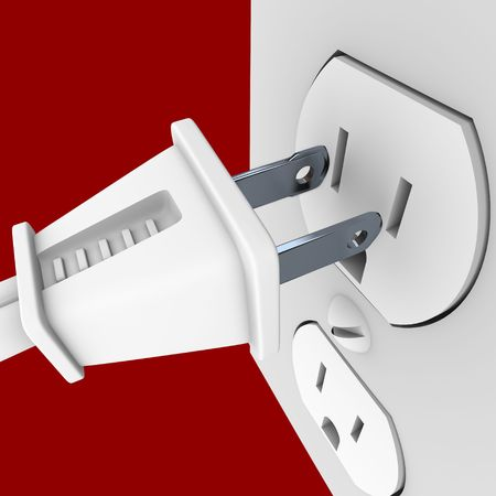 electric socket: A white electrical power cord about to plug into a wall outlet