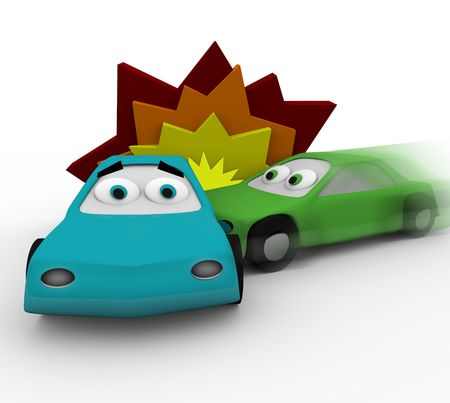 Two cars crash in a vehicle accident Stock Photo