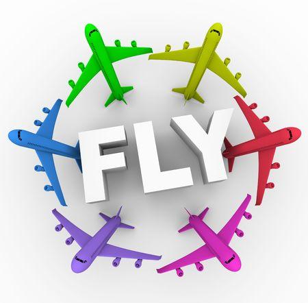 Verschillende apirplanes van verschillende kleuren rond het woord vliegen Stockfoto - 6976416