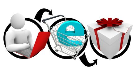 e shop: A diagram of a person browsing on a laptop, making an online purchase, and a wrapped gift Stock Photo