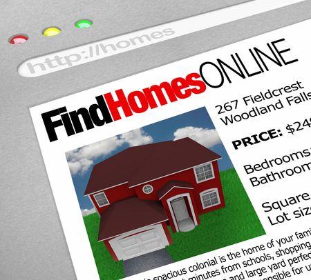 웹 브라우저 창에 단어 온라인 찾기 및 집 그림이 표시됩니다. 스톡 콘텐츠