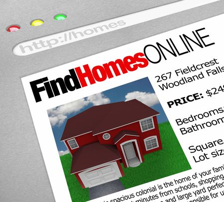 A web browser window shows the words Find Homes Online and a picture of a house Stock Photo - 6976433