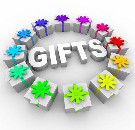 Het woord Gifts omringd door presenteert met verschillende kleur linten en strikken  Stockfoto