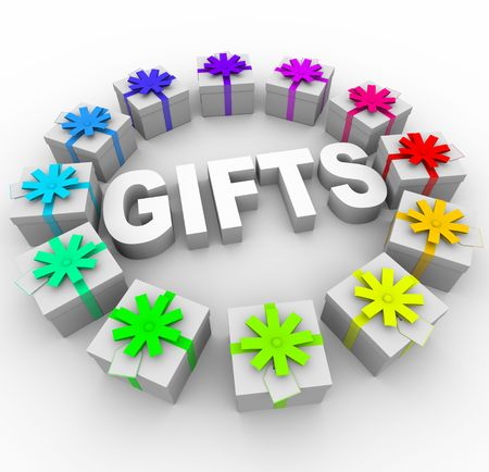 The word Gifts surrounded by presents with different color ribbons and bows Stock Photo - 6976434
