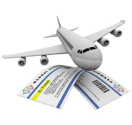 Twee e-tickets en een vliegtuig, symboliseert reis van de lucht