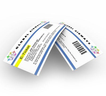 Twee e-tickets voor reizen op een vlieg tuig  Stockfoto - 7005848