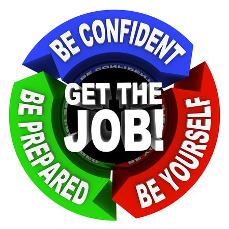 hired: A series of motivational phrase in a circular diagram around the words Get the Job Stock Photo