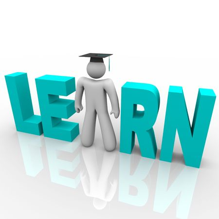 The word Learn with a man wearing a graduation cap standing in for letter A Stock Photo - 7051345