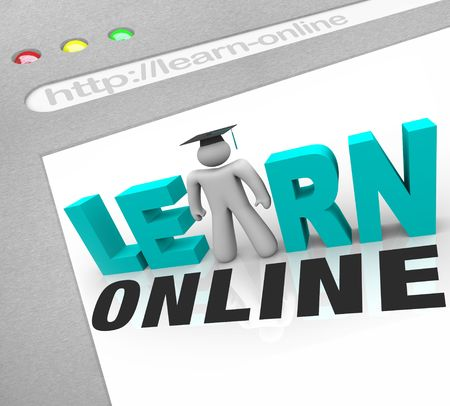 online world: A web browser window shows the words Learn Online and a picture of a person with graduation cap
