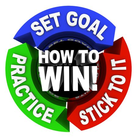 How to Win - set goals, practice and stick to it Banco de Imagens