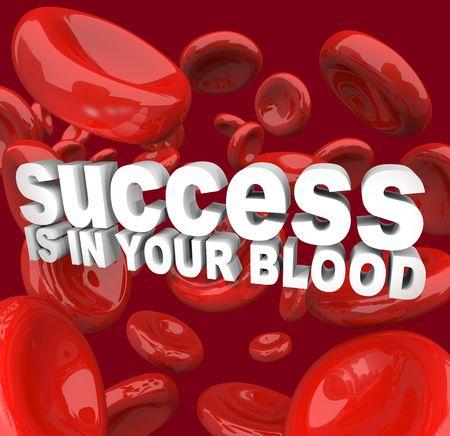 빨간색 셀에 둘러싸인 성공의 단어가 당신의 피에 있습니다. 스톡 콘텐츠