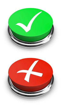 Two buttons - one with a check mark for a positive answer, and one with an x for a negative answer photo