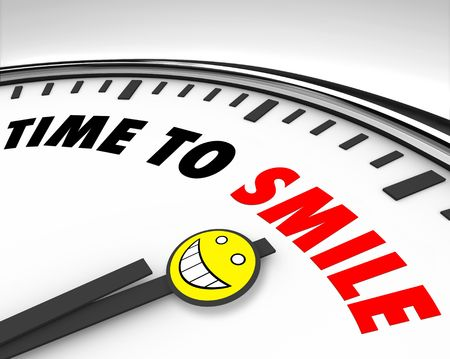 word of mouth: White clock with words Time to Smile and a happy face
