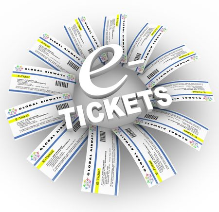 Many airline e-Tickets arranged around the words photo