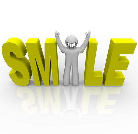 word of mouth: The word Smile in yellow letters and a man with a smiley face stands in for the letter i Stock Photo