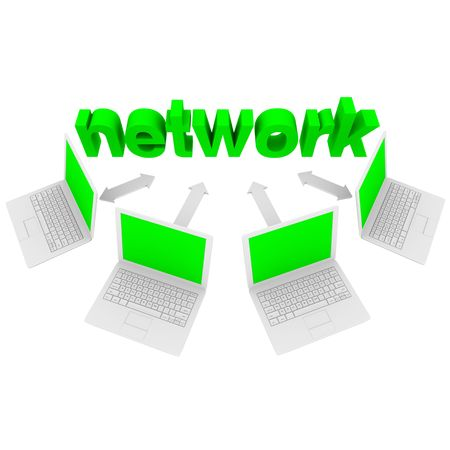 The word Network connected to laptop computers by arrows Stock Photo - 7155121