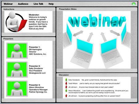 web conference: A sample screenshot of a webinar on a computer