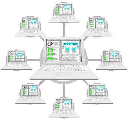 Illustration of a network of computers linked and participating in a webinar illustration