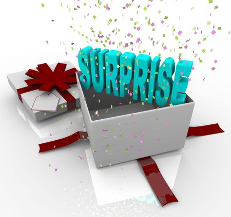 Surprise: A white gift box springs open to reveal the word Surprise Stock Photo