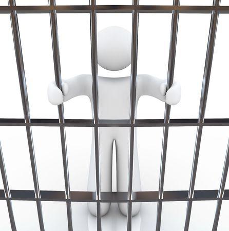 detained: Un hombre en la c�rcel sostiene las barras antes de �l
