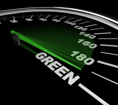compteur de vitesse: The needle on a speedometer points to the word Green