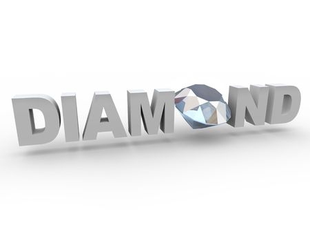 A diamond sits in the word in place of the letter O