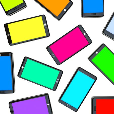 telephones: Many smart phones side by side with screens of different colors