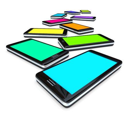 많은 스마트 폰이 서로 다른 색상의 화면과 나란히 있습니다. 스톡 콘텐츠